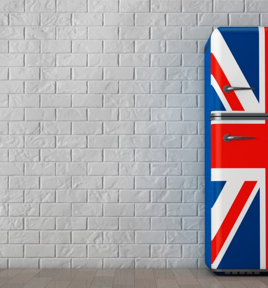 Retro refrigerator with the British flag. 3d Rendering