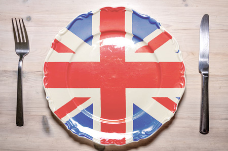 46675455 - a flag concept of a dinner plate with the flag of britain on it.