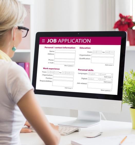 Job application form on computer